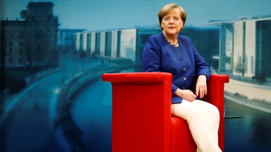 German Chancellor Merkel arrives for a TV interview by ARD public broadcaster in Berlin