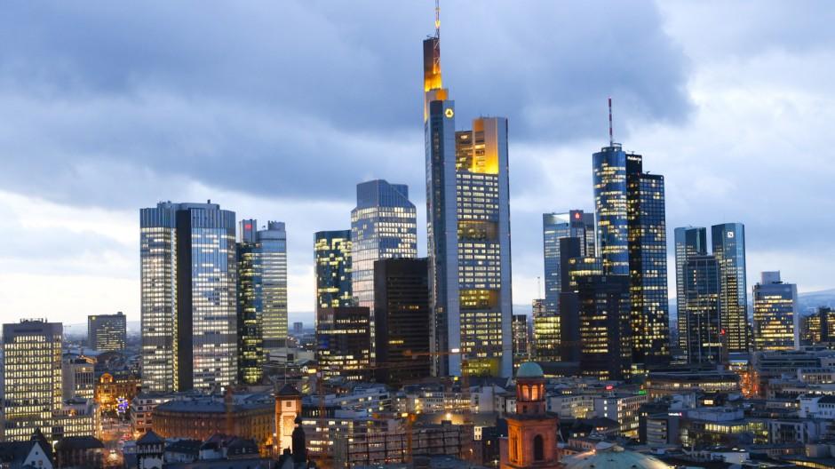 Skyline mit den Banken in Frankfurt