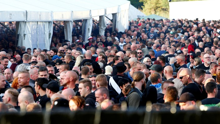 Participants take part at one of Germany's biggest right-wing music festivals in Themar