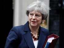 Britain's PM May leaves Downing Street in London