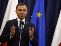 Poland's President Andrzej Duda speaks during his announcement at Presidential Palace in Warsaw