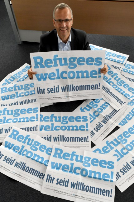 Plakataktion 'Refugees welcome!'