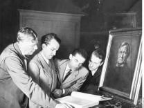 Wolfgang und Wieland Wagner mit Hans Knappertsbusch und Herbert von Karajan, 1950