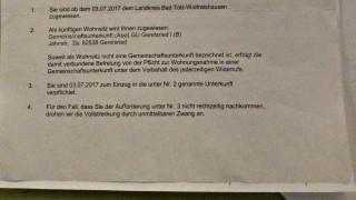 Auszug aus der Umzugsaufforderung für Eglinger Asylbewerber