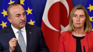 EU Foreign Policy Chief Mogherini and Turkish Foreign Minister Cavusoglu hold a news conference at the European Commission in Brussels