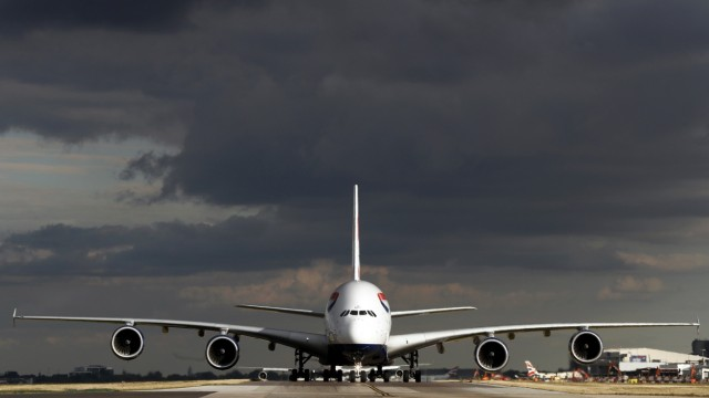 A British Airways Airbus A380 aircraft taxis at Heathrow Airport near London