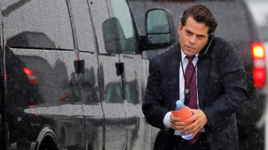 White House Communications Director Anthony Scaramucci arrives to travel with U.S. President Donald Trump to Ronkonkoma, New York from Joint Base Andrews, Maryland, U.S.