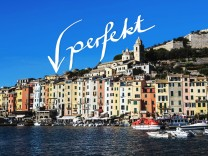 Portovenere Porto Venere UNESCO World Heritage Site colourful harbourfront houses boats and cas