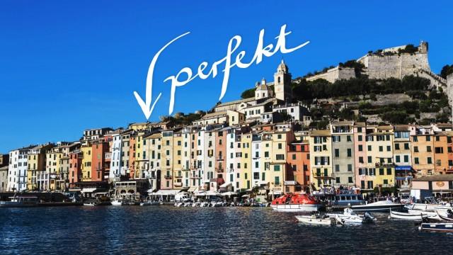 Portovenere Porto Venere UNESCO World Heritage Site colourful harbourfront houses boats and cas