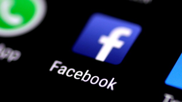 FILE PHOTO: The Facebook application icon on a phone screen