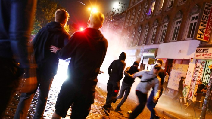 Riot police uses water cannons against protesters during demonstrations at the G20 summit in Hamburg