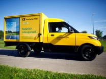 FILE PHOTO: The electronic delivery car 'Street Scooter' of German postal and logistics group Deutsche Post DHL is seen during a press confernce in Aachen