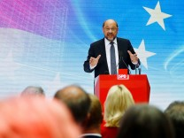 Germany's Social Democratic Party SPD candidate for chancellor Schulz holds a speech during an event at the SPD headquarters in Berlin