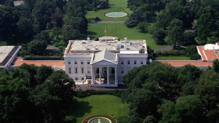July 1 1987 Washington DC USA Aerial view of the north side of the White House with the Washi