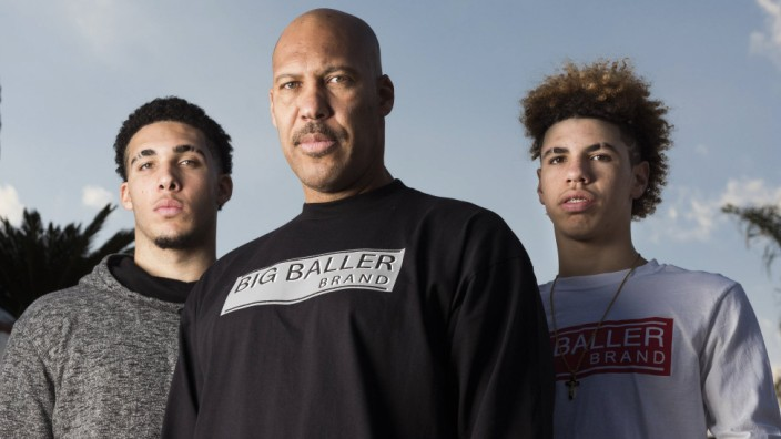 February 22 2017 Chino Hills CA USA LaVar Ball center is shown with his sons and Chino Hill