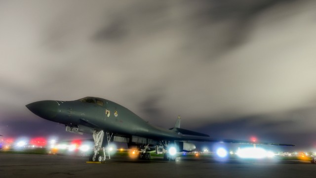 FILE PHOTO: A U.S. Air Force B-1B Lancer bomber sits on the runway at Anderson Air Force Base, Guam