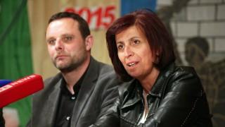 DONETSK UKRAINE MAY 10 2015 Zuerst magazine editor in chief Manuel Ochsenreiter L and Greek pa