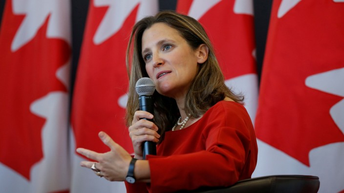 Canada's Foreign Minister Freeland speaks during an event at the University of Ottawa in Ottawa