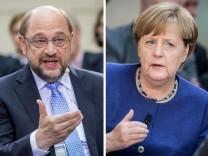 Schulz und Merkel bei Phönix Forum Politik