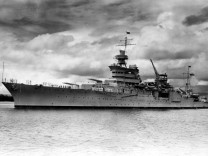 The World War II cruiser USS Indianapolis at Pearl Harbor Hawaii