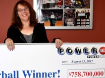 Mavis Wanczyk of Chicopee, Massachusetts, the winner of the $758.7 million Powerball jackpot is pictured in Braintree in this handout photo