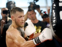Conor McGregor of Ireland works out at the UFC Performance Center in Las Vegas
