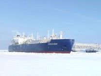 FILE PHOTO: Ice-breaking tanker Christophe de Margerie is docked in Arctic port of Sabetta