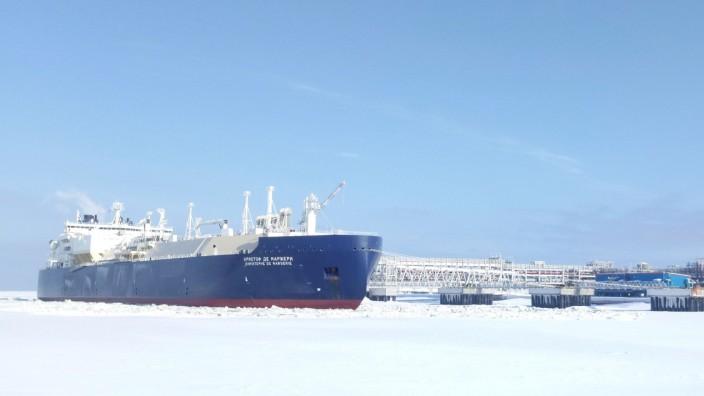 FILE PHOTO: Ice-breaking tanker Christophe de Margerie is docked in Arctic port of Sabetta