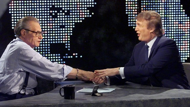DONALD TRUMP WITH LARRY KING AFTER ANNOUNCING POSSIBLE CANDIDACY