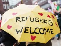 Demonstration für Rechte von Flüchtlingen