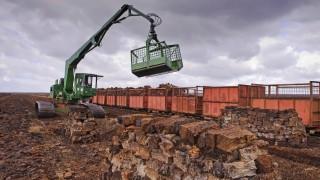 Moorbahn wird mittels eines Baggers mit Torfballen beladen Deutschland Niedersachsen Goldenstedt