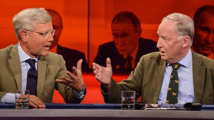 """Titel: 'Der Bürgercheck zur Wahl: 'Wie umgehen mit Trump, Erdogan und Putin?'; Wie umgehen mit den Populisten? Alexander Gauland und Norbert Röttgen zu Gast bei """"Hart aber Fair"""""""