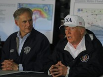 U.S. President Trump receives briefing on Tropical Storm Harvey relief efforts in Corpus Christi, Texas