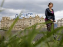 FILE PHOTO: View shows an advertisement of FC Otkritie bank, which is installed on the roof of a building in Moscow