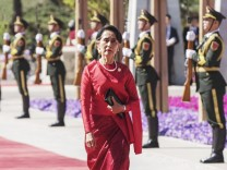 170515 BEIJING May 15 2017 Myanmar State Counselor Aung San Suu Kyi arrives for the Leaders