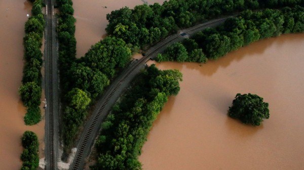 Railway lines are seen surrounded by flood waters caused by Tropical Storm Harvey near Sandy Point