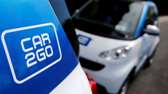 FILE PHOTO: The logo of German car-sharing firm Car2Go is pictured in Cologne