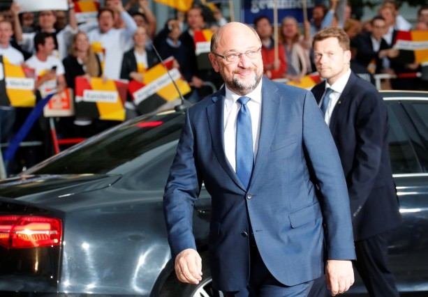 Germany's Social Democratic Party (SPD) candidate for chancellor Martin Schulz arrives for a TV debate with his challenger German Chancellor Angela Merkel in Berlin