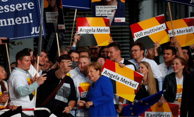 German Chancellor Angela Merkel of the Christian Democratic Union (CDU) arrives for a TV debate with her challenger Germany's Social Democratic Party SPD candidate for chancellor Martin Schulz in Berlin