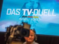 Studio für das TV-Duell zur Bundestagswahl 2017