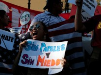 Paulina Ruiz of Los Angeles chants with supporters of the Deferred Action for Childhood Arrivals (DACA) program on Olivera Street in Los Angeles, California,