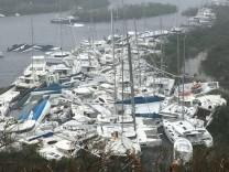 Pleasure craft lie crammed against the shore in Paraquita Bay after Hurricane Irma passed Tortola
