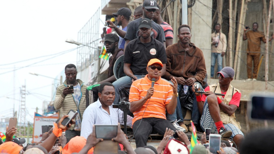 The leader of the opposition Jean-Pierre Fabre speaks during protest calling for the immediate resignation of President Faure Gnassingbe in Lome