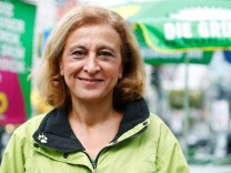 Bayram, candidate of the of the environmental Greens party (Die Gruenen) for the upcoming federal election, campaigns in Berlin