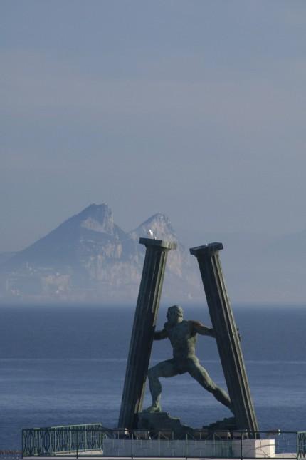 North Africa Spanish Morocco Ceuta Pillars of Hercules sculpture overlooking the Mediterranean &
