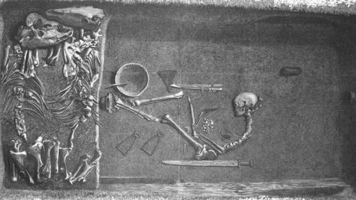 Illustration by Evald Hansen based on the original plan of grave Bj 581 by excavator Hjalmar Stolpe; published in 1889