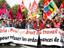 French CGT union leader Philippe Martinez attends a national strike and protest against the government's labour reforms in Paris