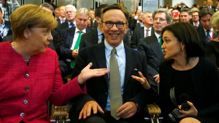 German Chancellor Merkel, Wissmann and Sandberg attend the opening of the Frankfurt Motor Show
