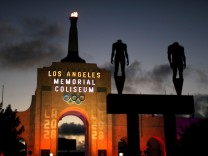 An LA2028 sign is seen at the Los Angeles Coliseum on the day Los Angeles was awarded the 2028 Olympic Games, in Los Angeles