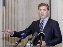 Iceland's Prime Minister Benediktsson speaks during a press conference in Reykjavik